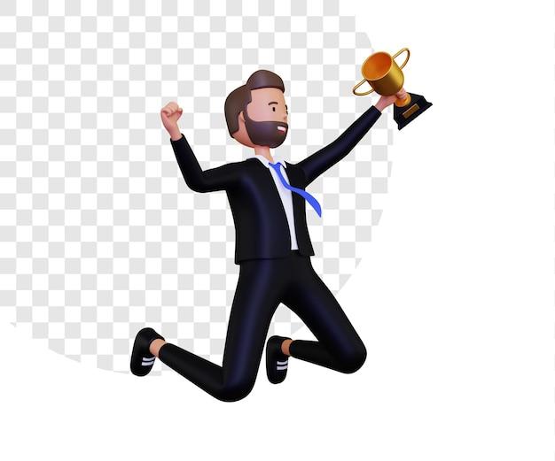 Successo 3d con un uomo d'affari che celebra il successo