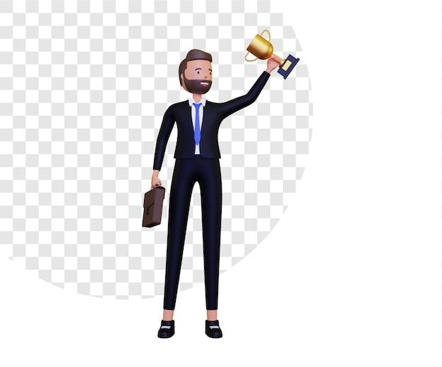 Successo 3d con l'uomo d'affari che solleva il trofeo d'oro Psd Premium