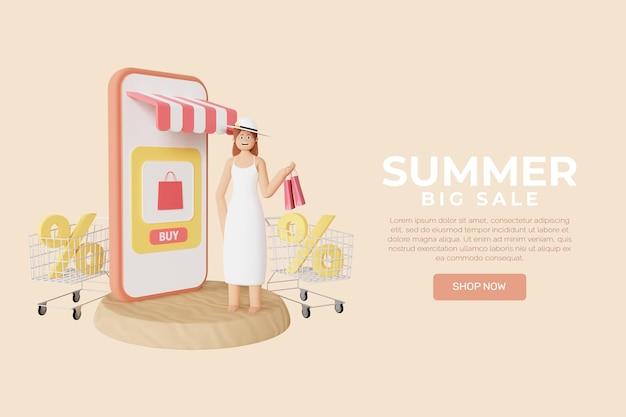 Modello di banner di vendita estiva 3d