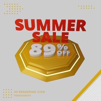 Offerta sconto saldi estivi 3d nel rendering 3d Psd Premium