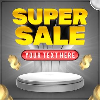 Concetto di adesivo modificabile super vendita 3d banner di testo modificabile super vendita
