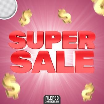 Concetto di adesivo modificabile rosso super vendita 3d banner di testo modificabile super vendita