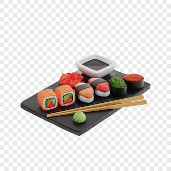 3d sushi e rotoli di tre tipi rotoli gunkan nigiri su una tavola di ardesia nera accanto alle bacchette