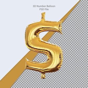 3d simbolo dollaro palloncino d'oro