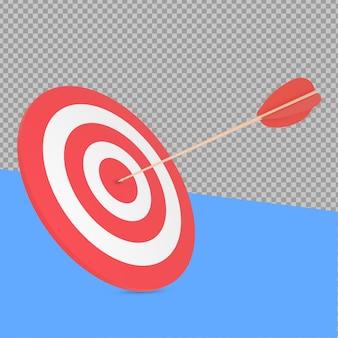 Obiettivo 3d e vista inclinata della freccia che rendono isolata