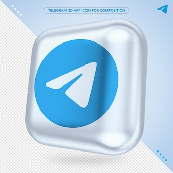 App telegram 3d ruotata per il compositing