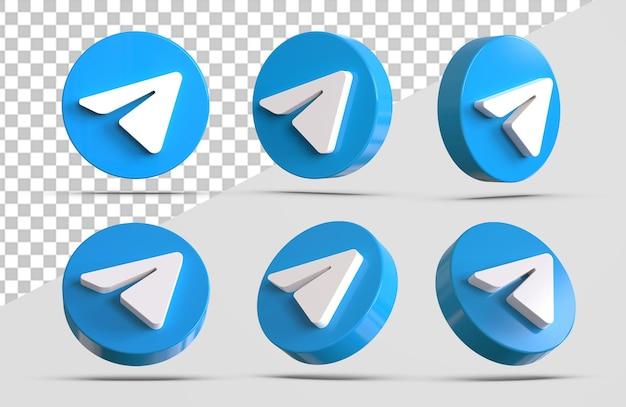 Collezioni di icone di telegramma 3d isolate