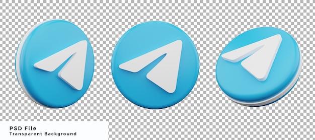Pacchetto di progettazione dell'elemento dell'icona del logo del telegramma 3d con varie angolazioni di alta qualità