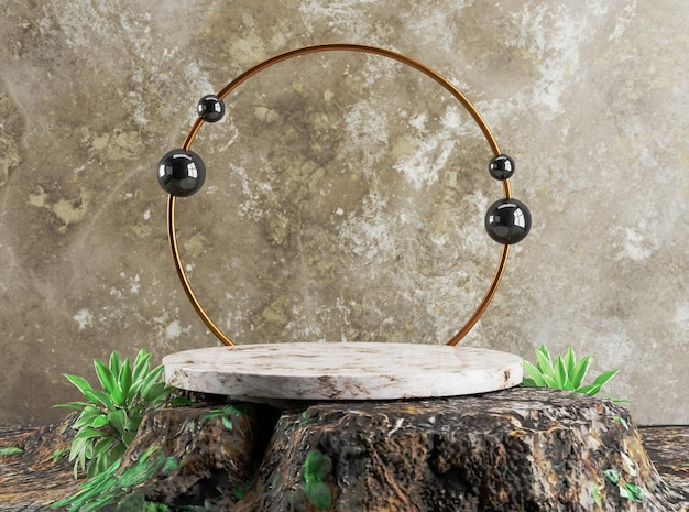 Podio dell'anello d'oro del modello 3d sul vecchio fondo di lusso di base di legno