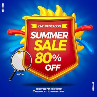 Distintivo di casella di testo 3d con estate di vendita eccellente isolata
