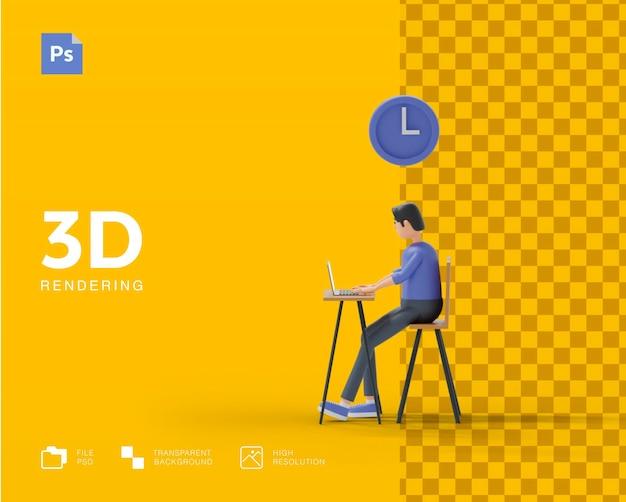 Rendering del concetto di tempo 3d per lavorare