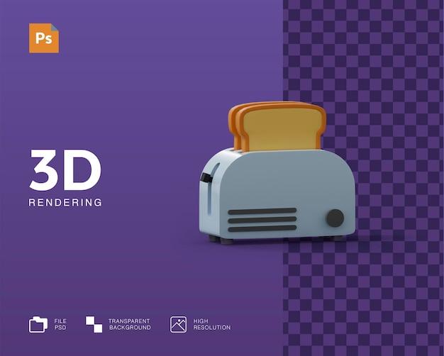 Illustrazione 3d della macchina del pane per toast
