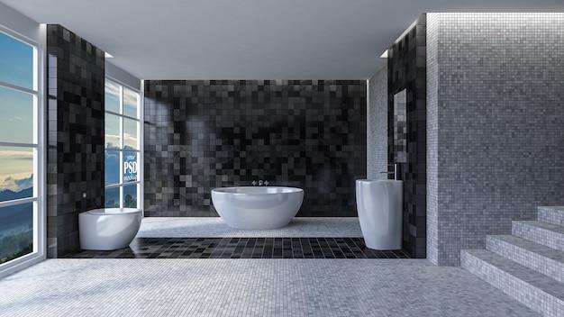 Interior design della toilette 3d