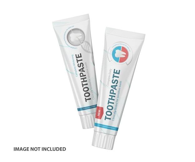 3d dentifricio tubi di plastica psd mockup