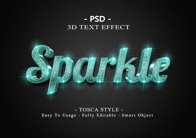 Effetto di testo 3d tosca sparkle