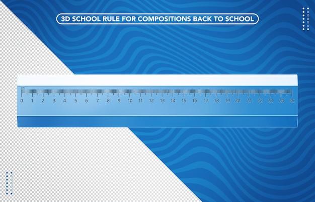 Righello scolastico blu trasparente 3d per il ritorno a scuola