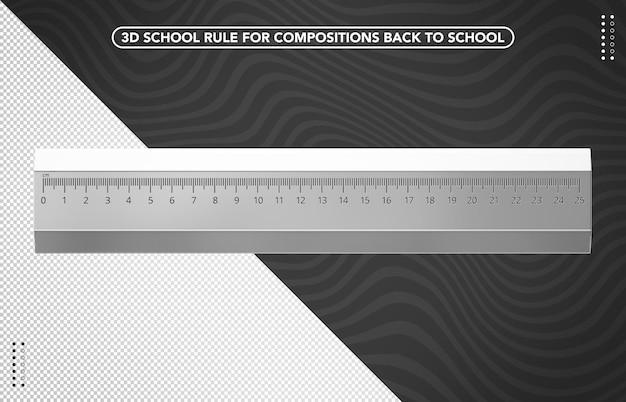 Righello scolastico trasparente 3d per il ritorno a scuola