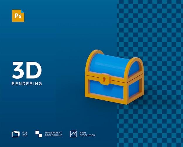 Rendering 3d della scatola del tesoro isolato