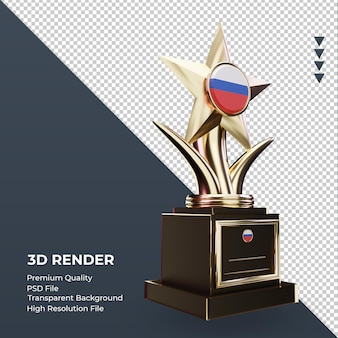 3d trofeo bandiera russa rendering vista a sinistra
