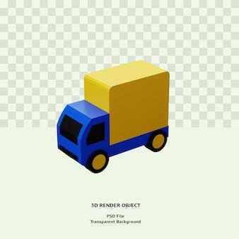 Oggetto dell'illustrazione dell'icona di consegna del camion 3d isolato reso premium psd