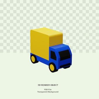 Oggetto dell'illustrazione dell'icona di consegna del camion 3d reso bckground trasparente di psd premium