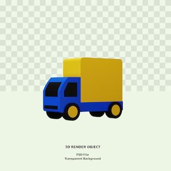 Oggetto dell'illustrazione dell'icona di consegna del camion 3d reso psd premium per il web