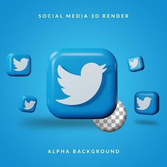 Logo dell'applicazione twitter 3d con sfondo alfa