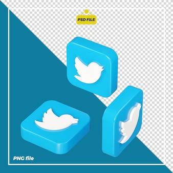 Icona twitter 3d su tutti i lati