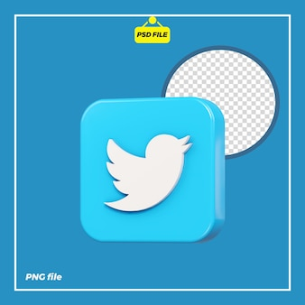 Icona twitter 3d