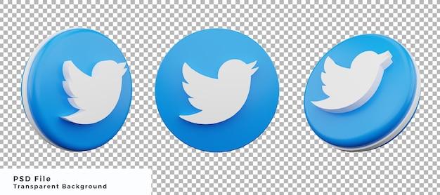 Pacchetto di progettazione dell'elemento dell'icona del logo di twitter 3d con varie angolazioni di alta qualità