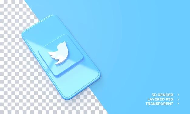 Logo twitter 3d in cima al rendering dello smartphone
