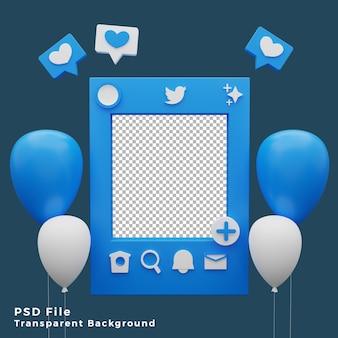 Modello di modello di mockup di twitter 3d con illustrazione dell'icona di palloncini di alta qualità