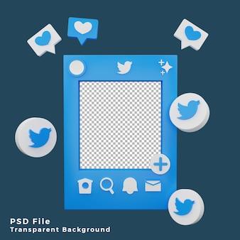 Asset del modello di mockup di twitter 3d con l'illustrazione dell'icona del logo di alta qualità