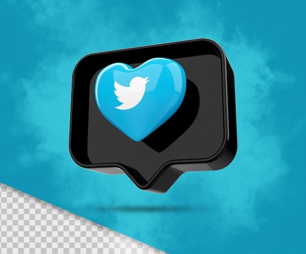 Icona di rendering 3d di twitter