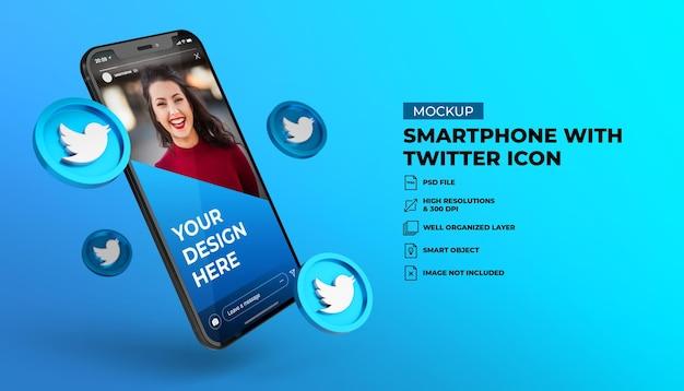 Icone social media di twitter 3d con mockup di smartphone schermo mobile