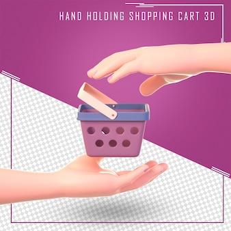 3d due mani tengono un carrello della spesa