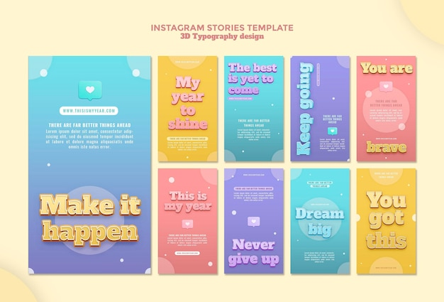 Storie di instagram di progettazione di tipografia 3d
