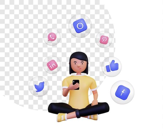 3d utilizzando i social media con icone all'interno delle bolle