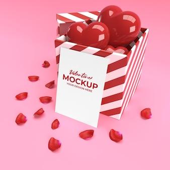 Mockup di carta di san valentino 3d con regalo di cuore e petali in rendering 3d
