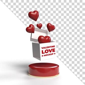 Contenitore di regalo di mockup di san valentino 3d isolato
