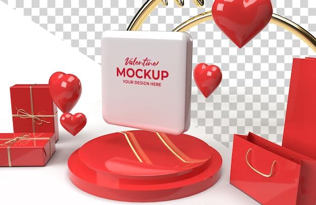 Rendering di fase promozionale di mockup di san valentino 3d per pubblicità