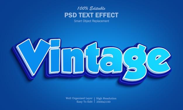 Modello di effetto di testo vintage 3d