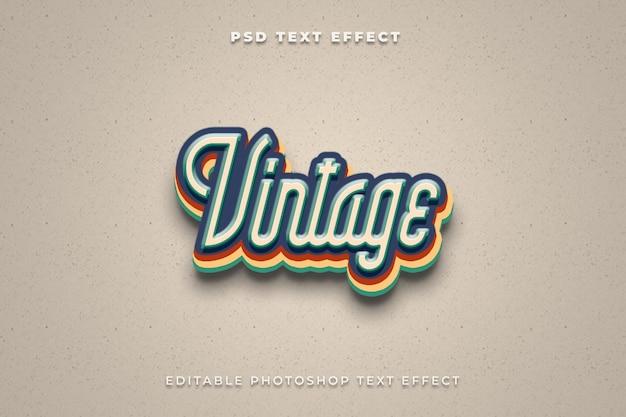 Modello di effetto testo vintage 3d