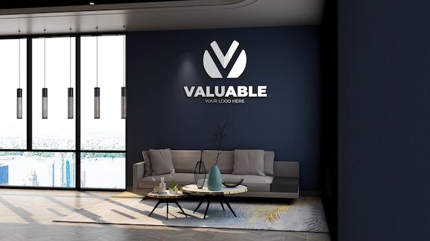 Mockup del logo aziendale della parete 3d nella sala d'attesa della hall dell'ufficio con parete blu