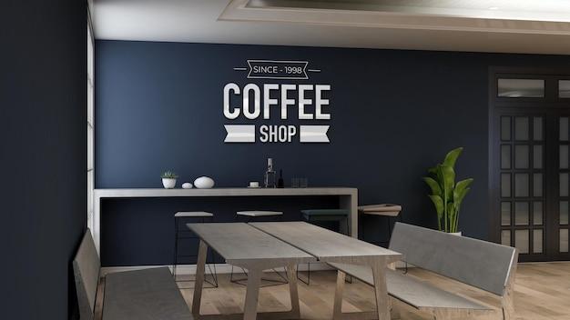 Modello di logo a parete 3d nel ristorante della caffetteria