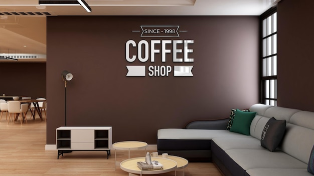 Modello di logo a parete 3d nella caffetteria con divano
