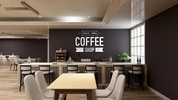 Modello di logo a parete 3d nell'interno moderno del bar caffetteria