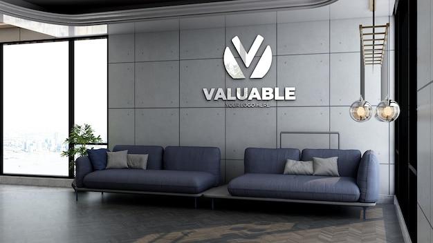Modello di logo a parete 3d nella sala d'attesa della hall dell'ufficio