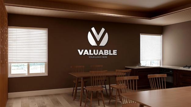 Modello di logo a parete 3d nella stanza della dispensa dell'ufficio