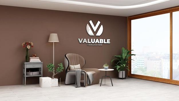 Modello di logo a parete 3d nella sala relax dell'ufficio